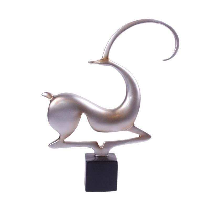 Thema Home Recynth Black A7 2447 Kijang Patung Dekorasi - Silver