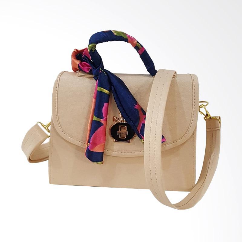 Chloebaby Shop S310 Crossbody Shoulder Scarf Bag Clutch Kanvas Tas Selempang Wanita - Cream