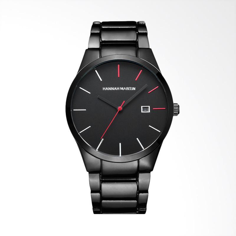 harga Hannah Martin Fashion Stainless Steel Men's Automatic Date Waterproof Watch Jam Tangan Pria - Black Red [WT0227A-R] Blibli.com