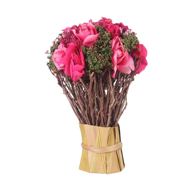 Thema Home Mix Roses Gypso Fuchsia Bunga Hiasan - Pink