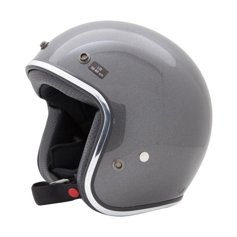 AGYO Helmet SS Gunmetal Gloss Padding Helm Half Face - Black
