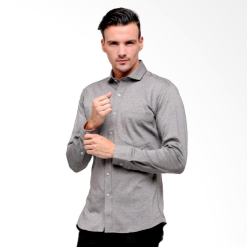 GT Man Long Sleeve Shirt Kemeja Pria - Grey [KGT003BL]