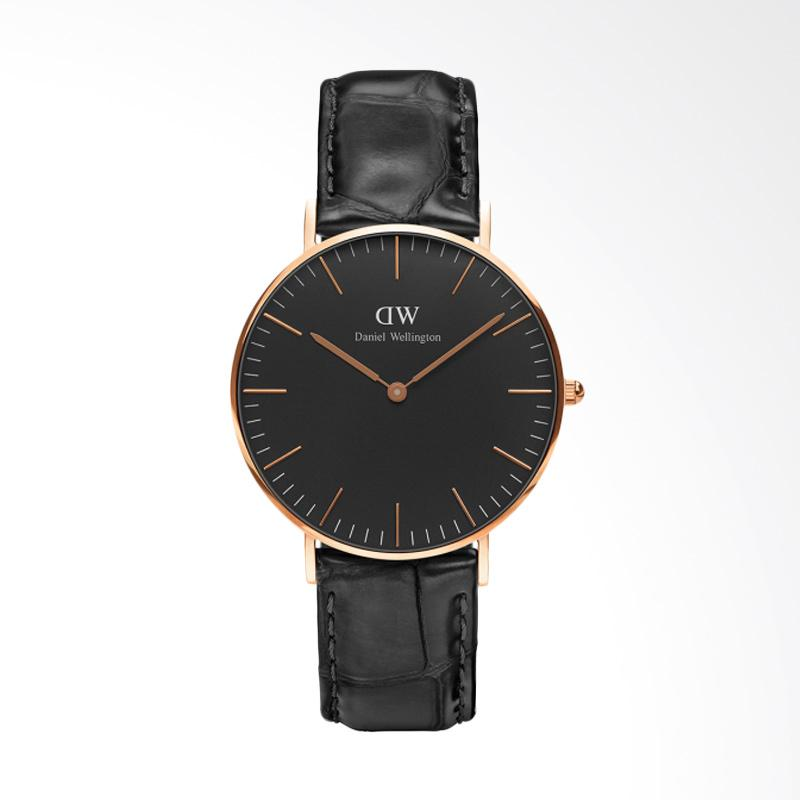 Daniel Wellington Classic Black Reading Strap Kulit Jam Tangan Wanita - Rose Gold [36mm]