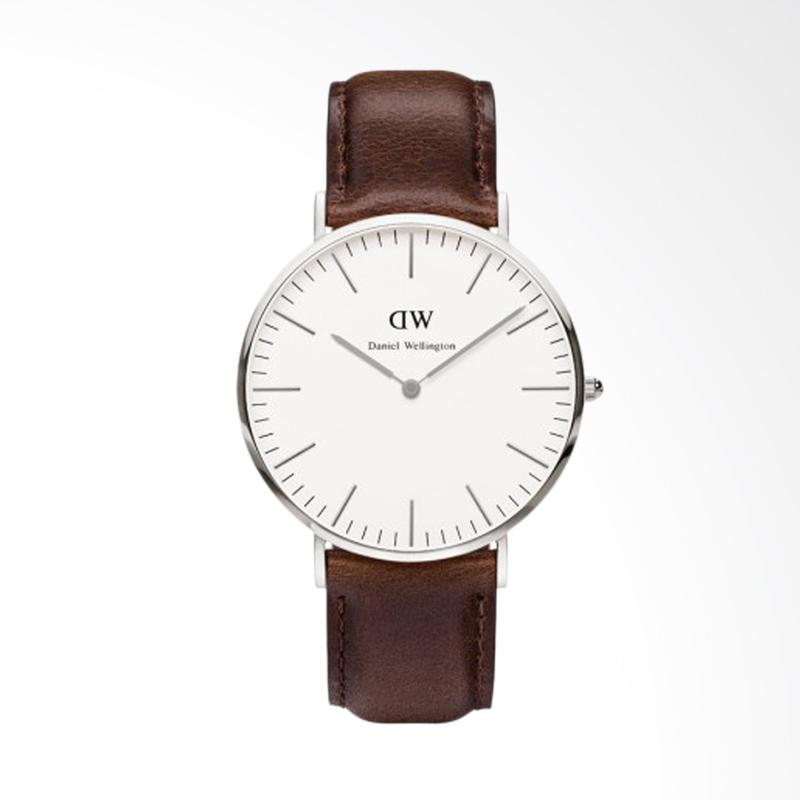Daniel Wellington Classic St Mawes Kulit Strap Silver Ring Dial Silver Jam Tangan Unisex - Coklat