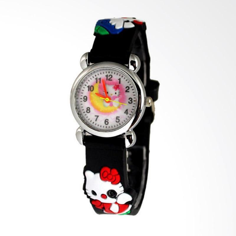 harga Hello Kitty WAT04147A Silicone Strap Cute Cartoon Child Watch Jam Tangan - Black Blibli.com