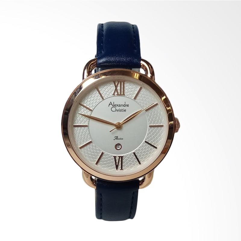 Alexandre Christie AC2674LD Passion Rosegold Stainless Steel Leather Jam Tangan Wanita - Blue