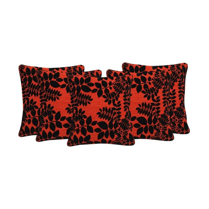 Tren-D-Home Flocking Sarung Bantal Sofa - Merah [43 cm x 43 cm/5Pcs]