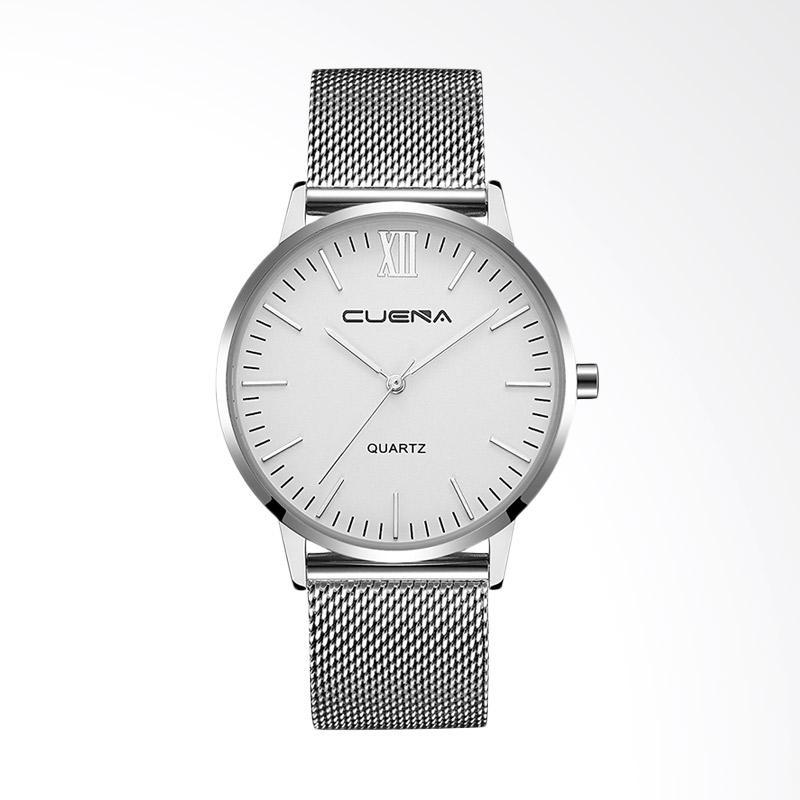Harga Cuena Top Luxury Brand Casual Fashion Men's Quartz Watch Jam Tangan - Silver White [