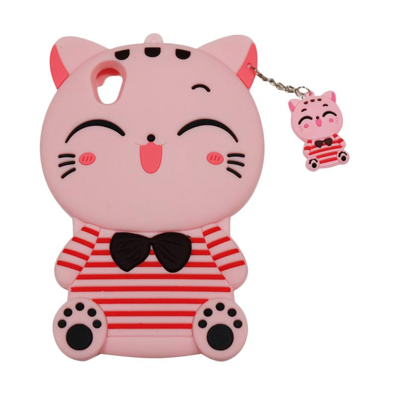 QCF Softcase 4D Karakter Kucing Lucky Cat Pink Silicone 4D Casing for Oppo A37 Neo 9 - Pink