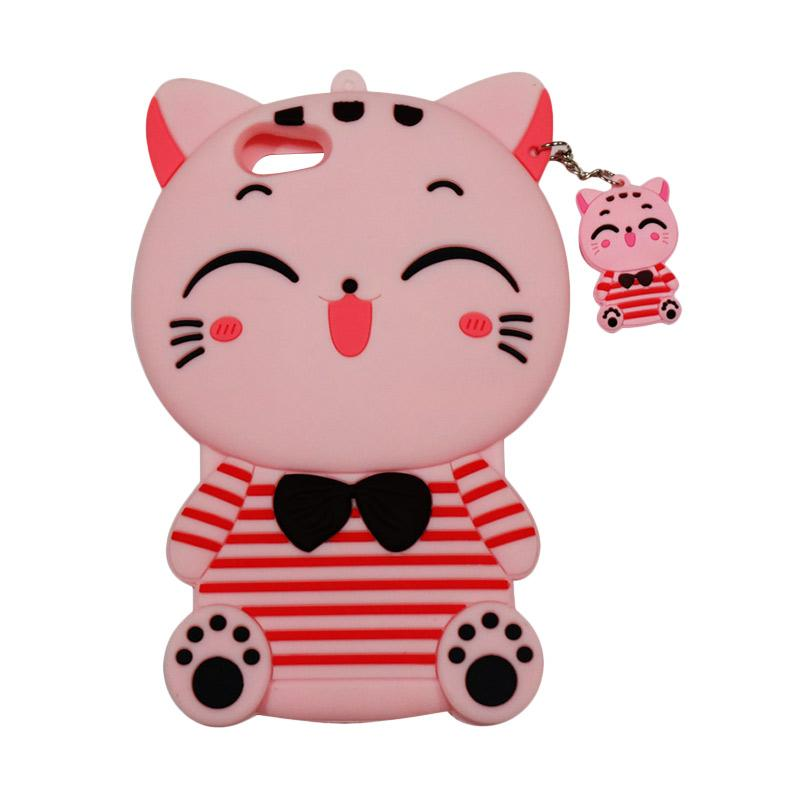 QCF Softcase 4D Karakter Kucing Lucky Cat Pink Silicone 4D Casing for Oppo A39 - Pink