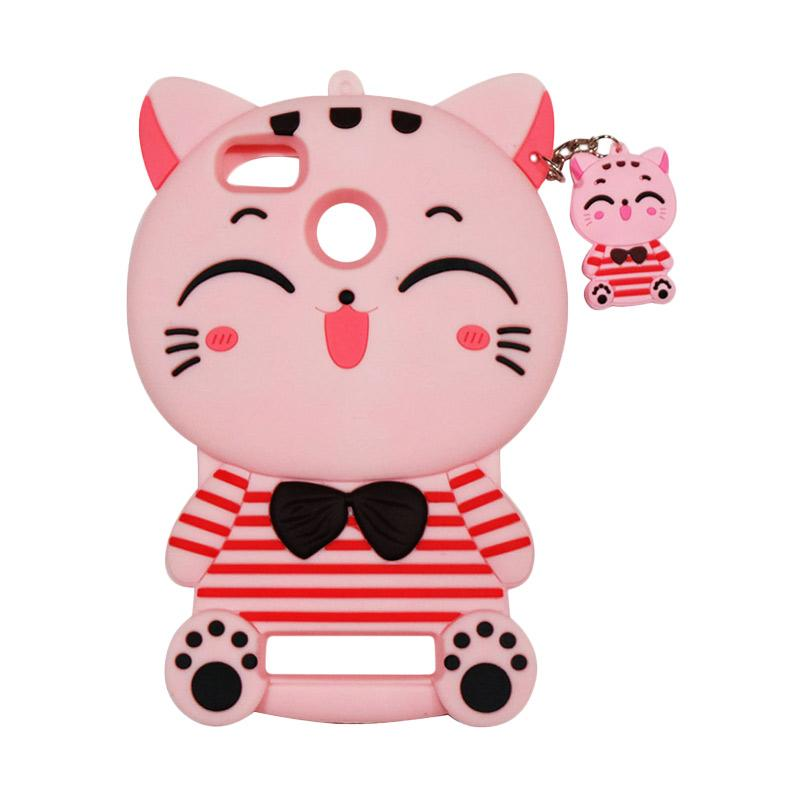 QCF Softcase 4D Karakter Kucing Lucky Cat Pink Silicone 4D Casing for Xiaomi Redmi 3S - Pink