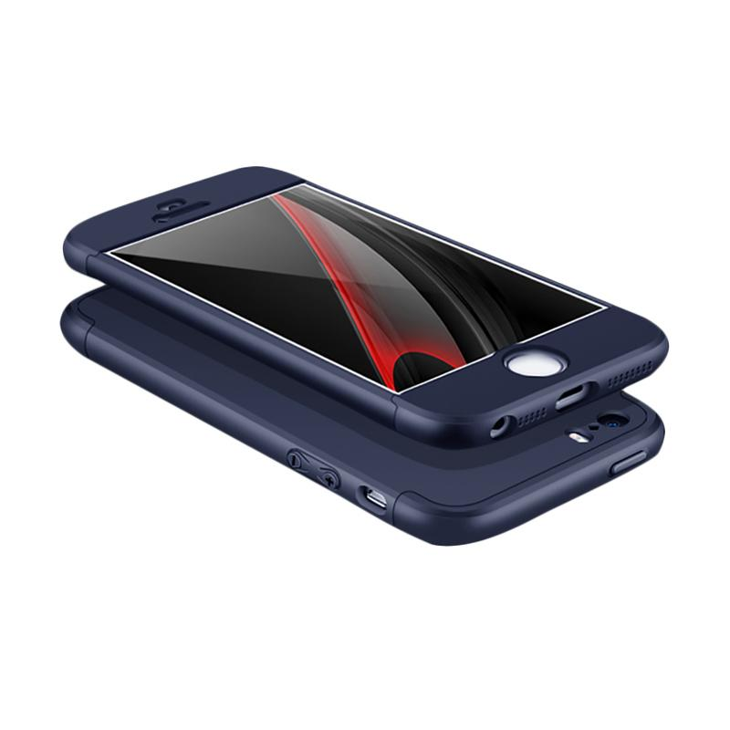 OEM 360 Full Protective 3in1 Hardcase Casing for iPhone 5 - Blue Navy + Free Screen Protector