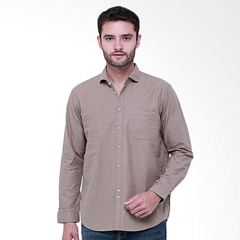 Tendencies Plain Shirt Kemeja Panjang Pria - Khaki