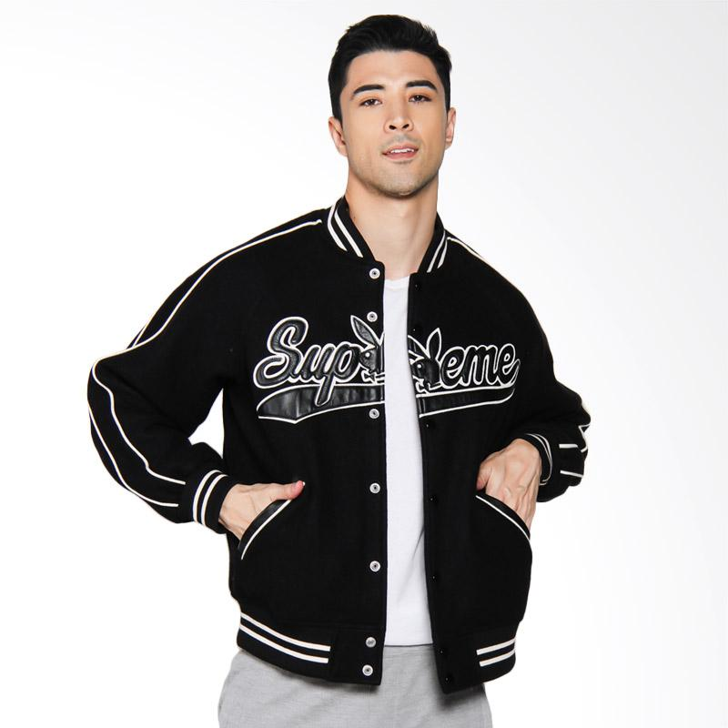 Supreme New York Playboy Wool Varsity Jacket Pria - Black