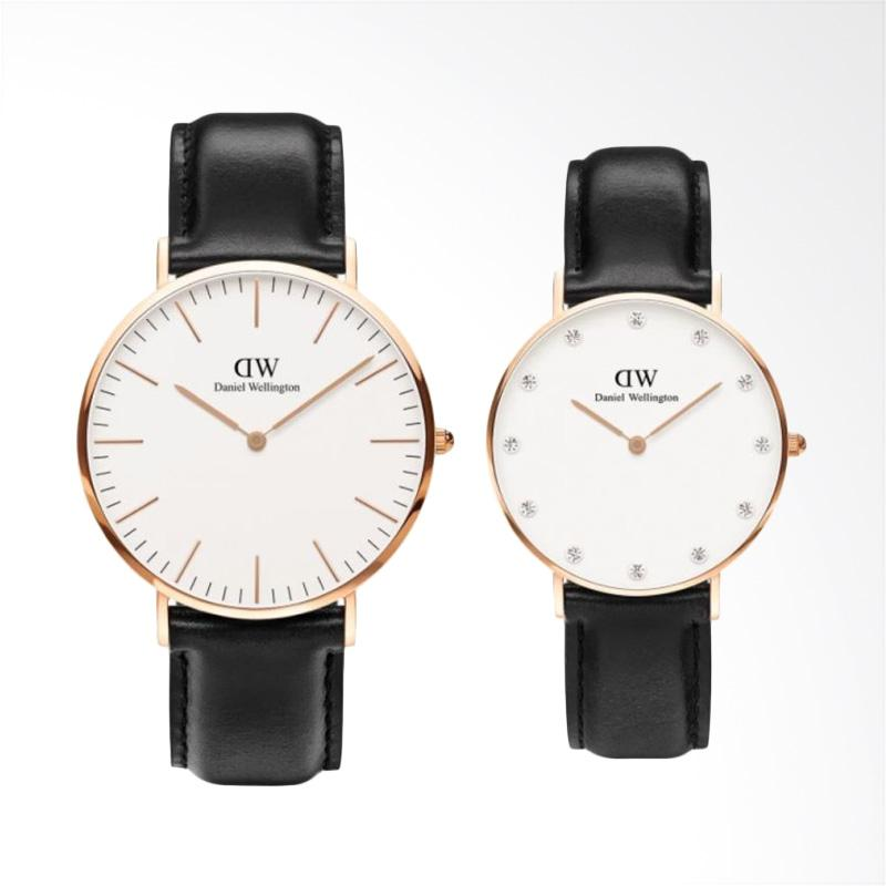Daniel Wellington Classic Sheffield Jam Tangan Couple - Hitam Ring Rose Gold [40mm & 34mm]
