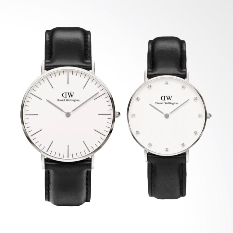 Daniel Wellington Classic Sheffield Jam Tangan Couple - Hitam Ring Silver [40mm & 34mm]