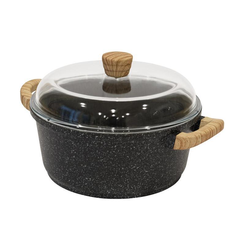DEBELLIN Granite Casserole Peralatan Memasak Black 28 cm
