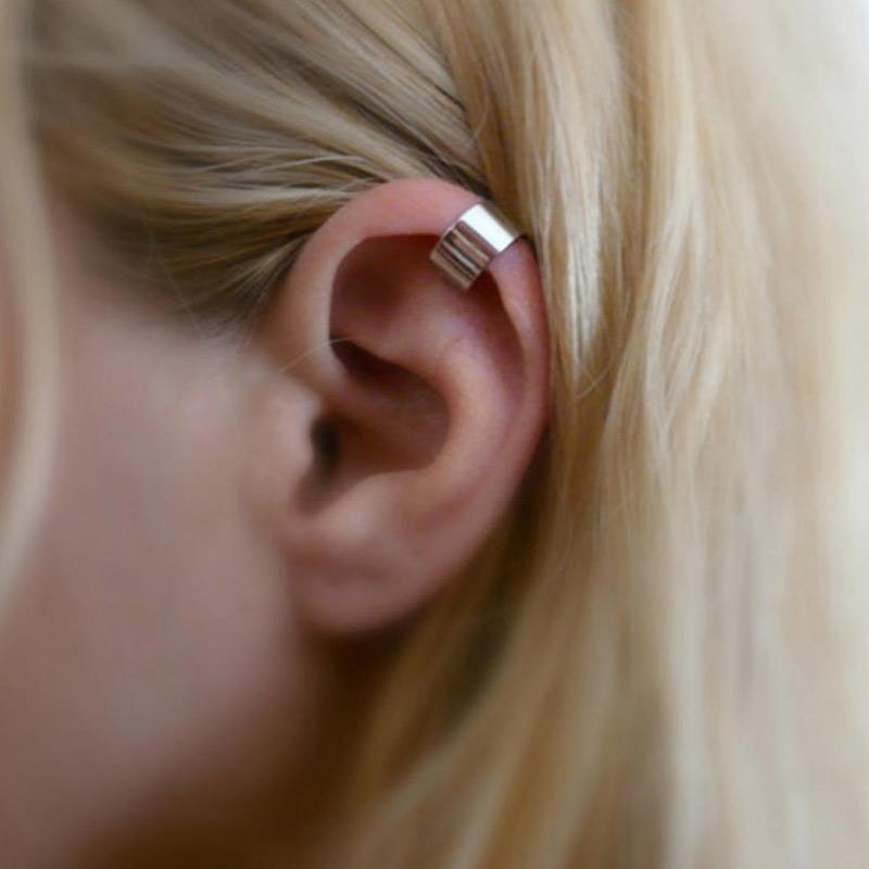 Bluelans Simple Ear Cuff Clip On Non Piercing Punk Party Jewelry Women Earrings Silver 1 Pair