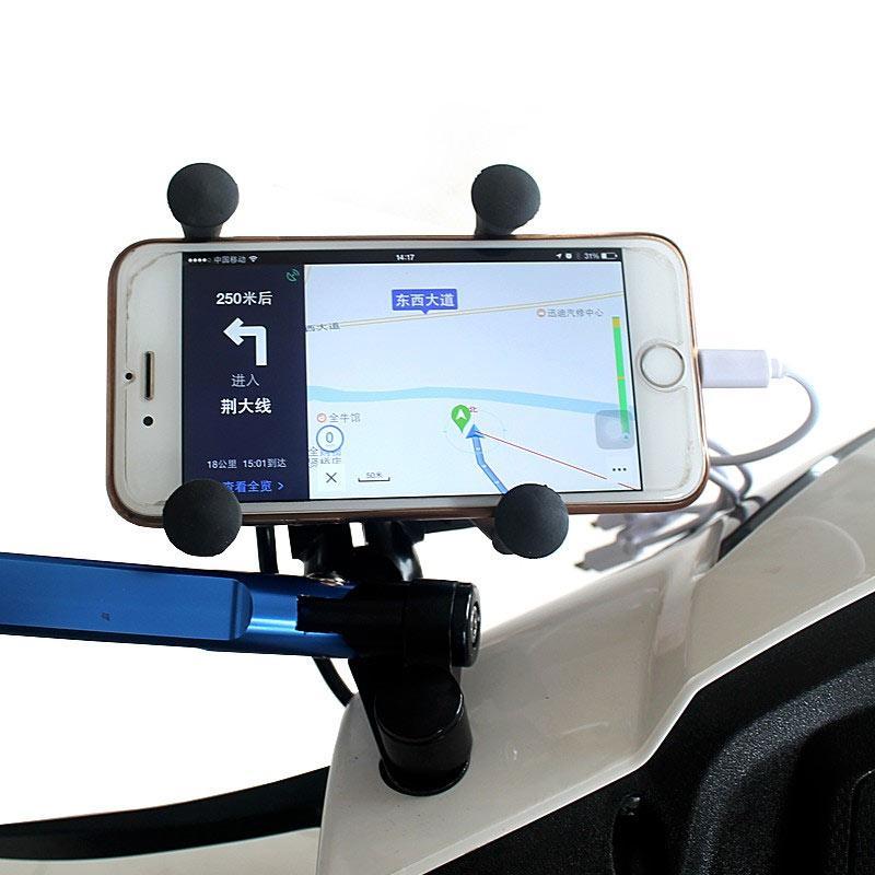 Jual Acc Handphone X-Grip Holder Handphone with USB Charger for Motorcycle - Hitam Online - Harga & Kualitas Terjamin | Blibli.com