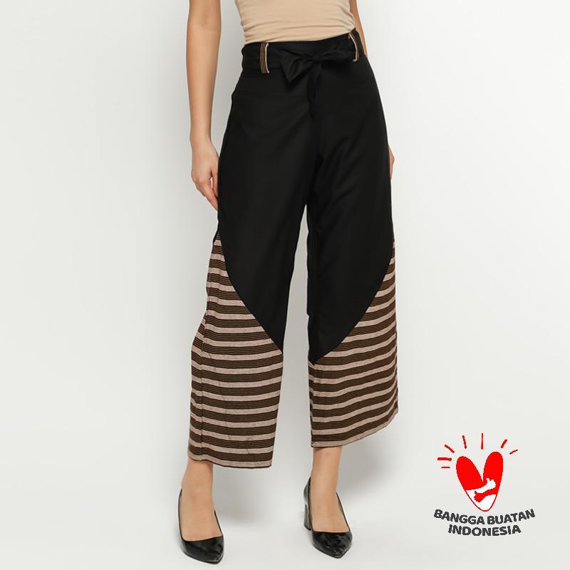 GESYAL Polos Kombinasi Lurik Celana Kulot Wanita