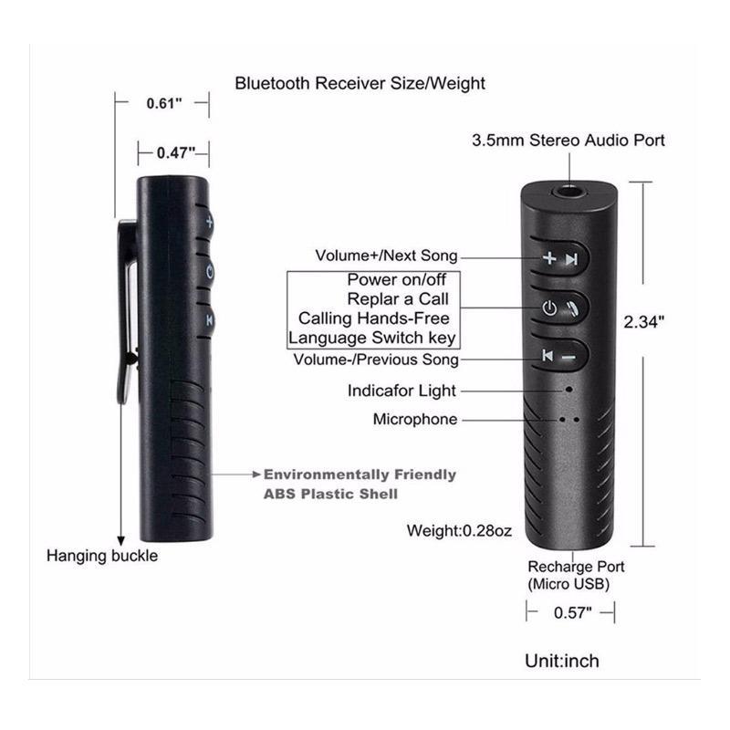 Mini Wireless Bluetooth Car Kit 3.5mm Dongle Jack Aux Audio Receiver Adapte FS