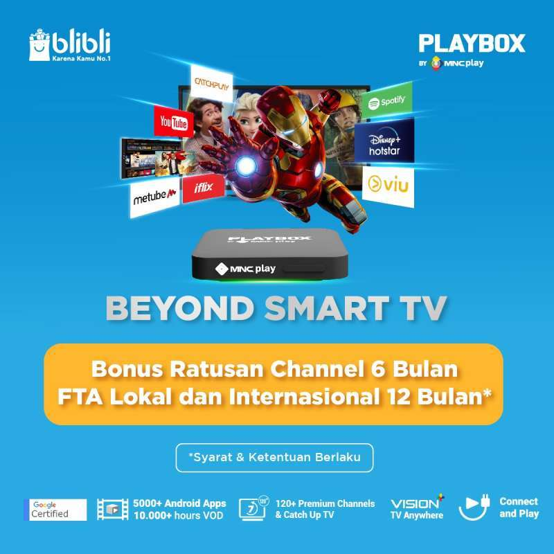 MNC Play PlayBox Android TV Box Entry Pack Promo Paket FTA 1 Tahun