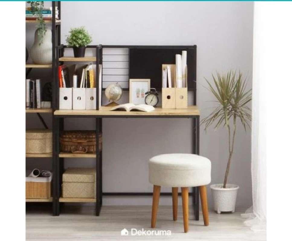 dekoruma meja kerja minimalis atau meja belajar kayu besi dan rak 4 susun kozu full01 9l16gce