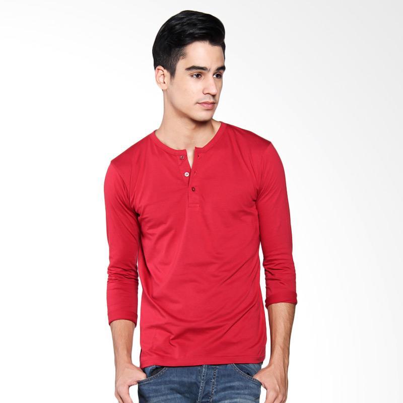 Bafash Button T-shirt Pria - Maroon