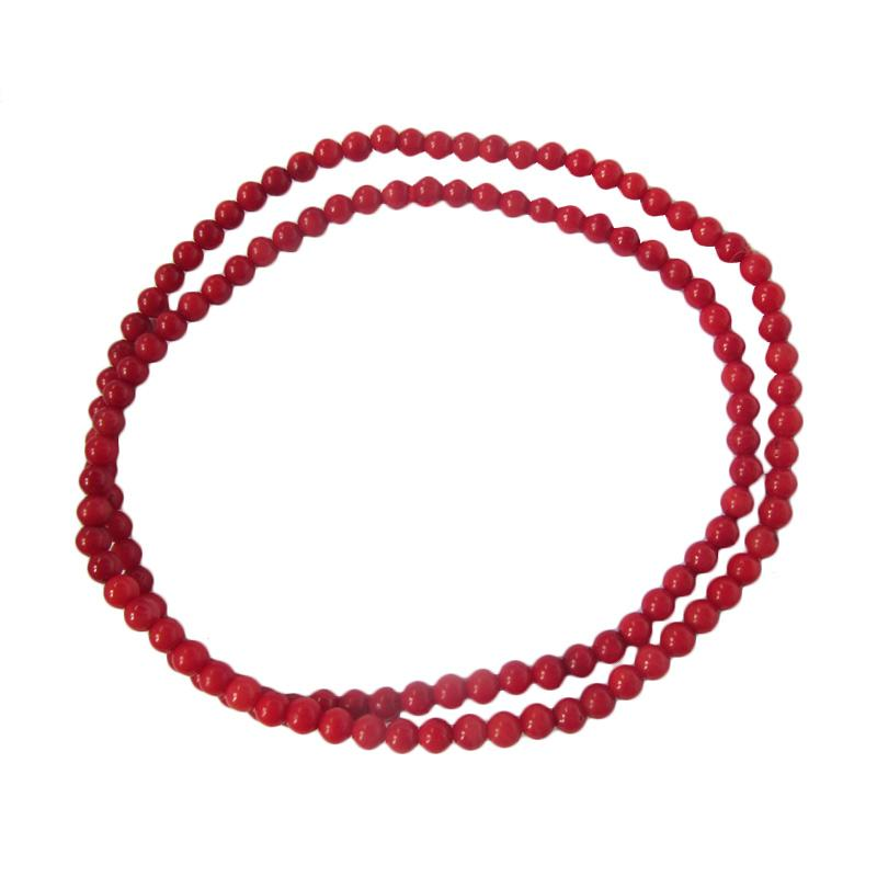 Ansor Silver Gelang Coral Beads Red [5 mm ikat 3]