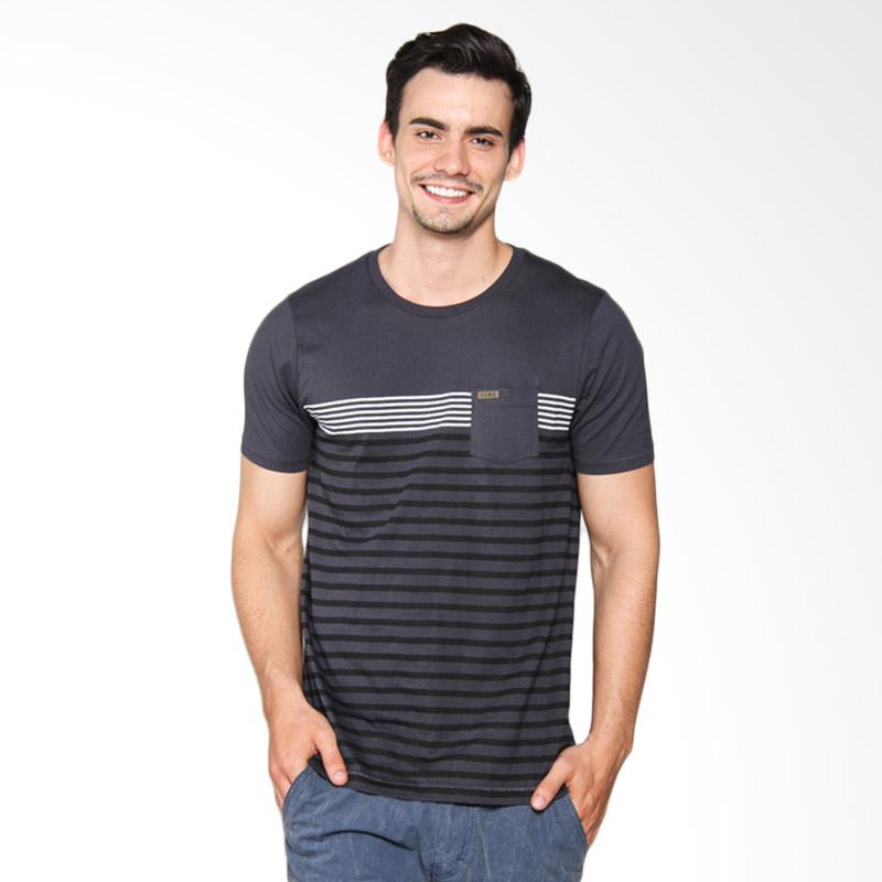 Famo Patch Pocket Striped Tee Kaos Pria - Grey 505041712