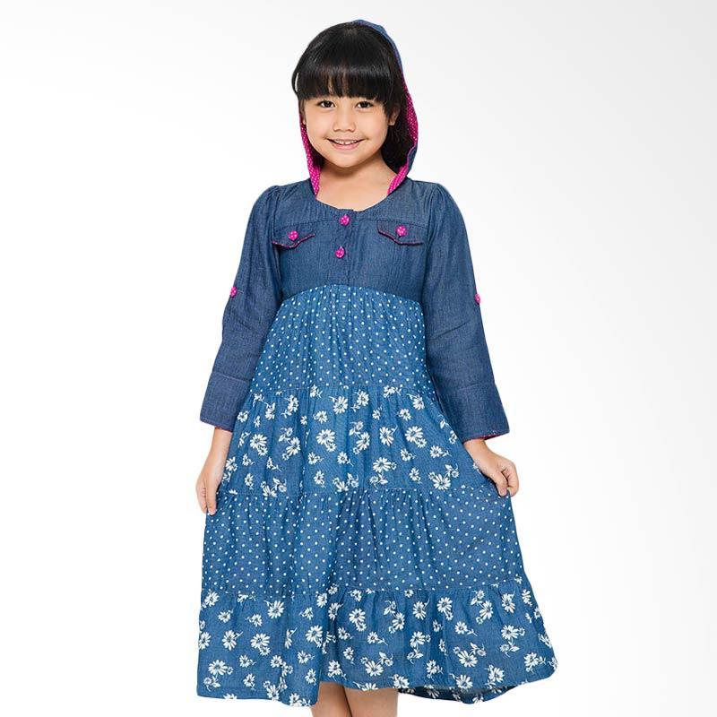4 You Print Hoodie Dress Anak - Navy