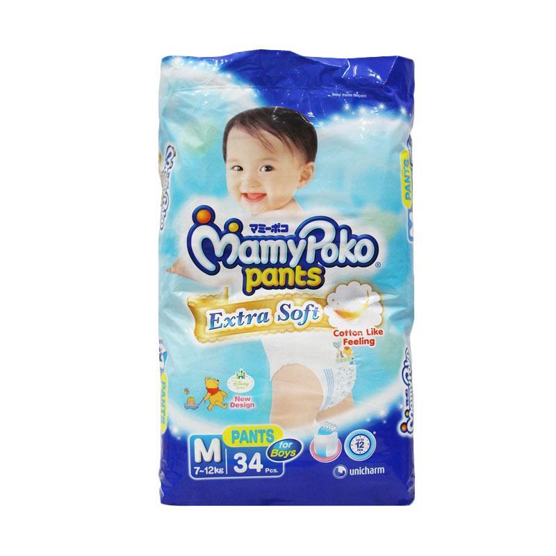 MamyPoko Pants Extra Soft Boys Popok [Size M/ 34 pcs]