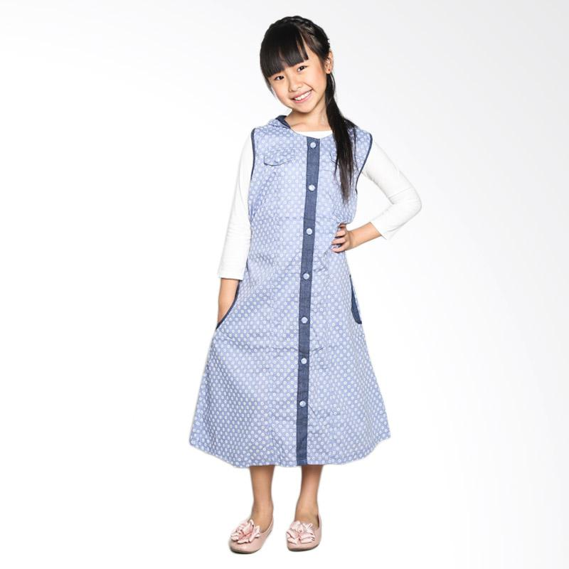 4 You Floral Hoodie Long Dress Anak - Biru