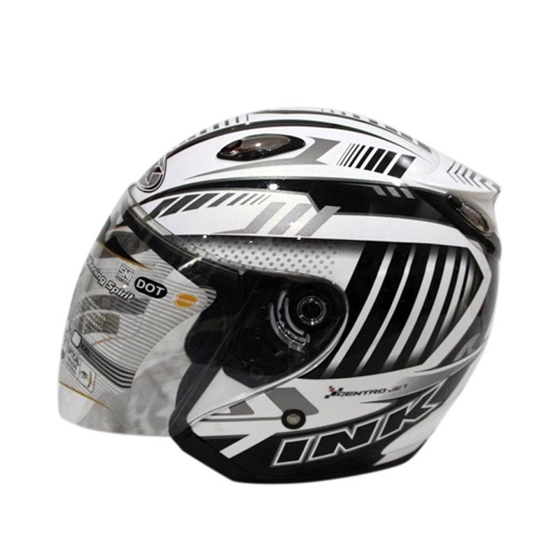 harga INK Centro Jet #5 Helm Half Face - White Black Blibli.com