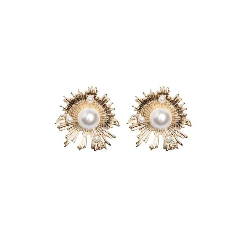 BLYTHE A036 Gold Embellished Stud Earrings Anting Aksesoris Wanita Gold