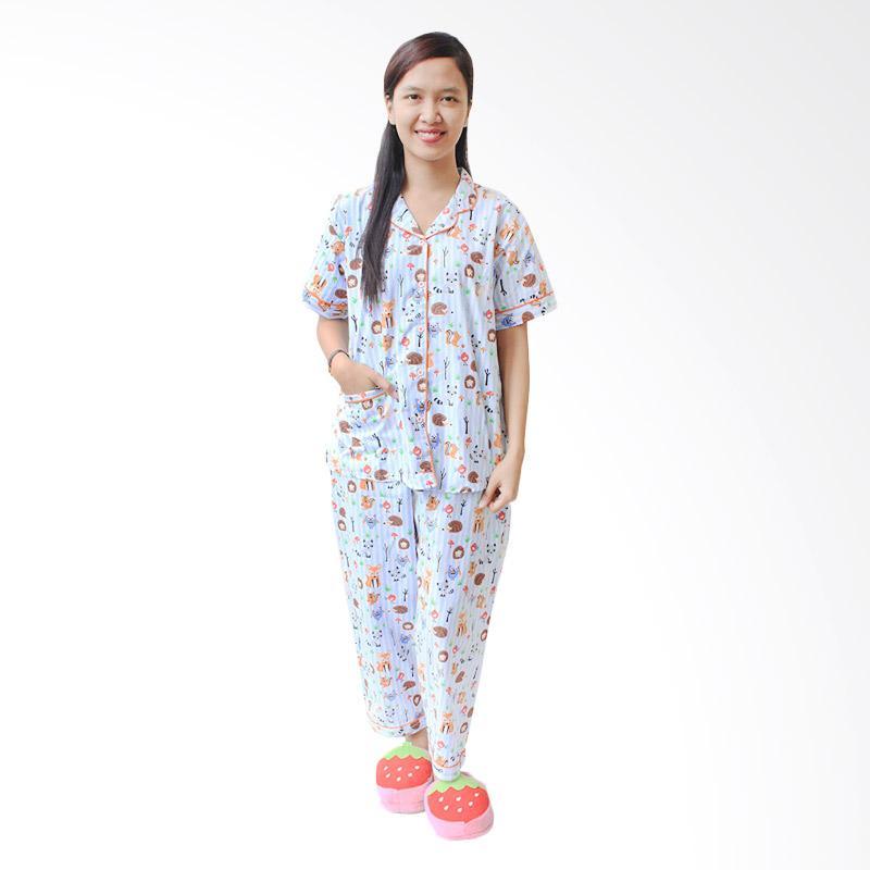 Aily SL010 Setelan Baju Tidur Piyama Wanita Celana Panjang - Orange