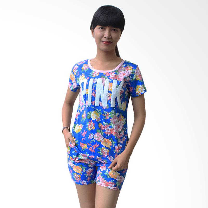 Aily 6581 Flowery Setelan Baju Tidur Wanita - Biru