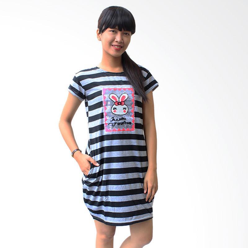 Aily 56111 Babydoll Stripe Chic Daster Wanita - Abu