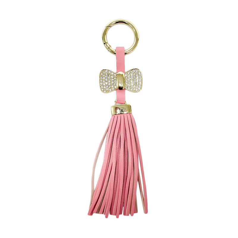 SIV Rumbai Ribbon Plus Manik Keychain Gantungan Kunci - Light Pink GT-RK03