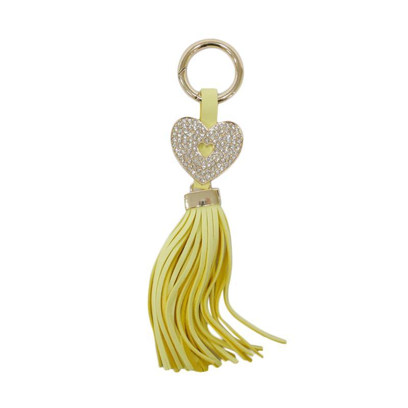 SIV Key Chain Rumbai Heart Plus Manik Gantungan Kunci - Yellow Kuning [GT-HK06]