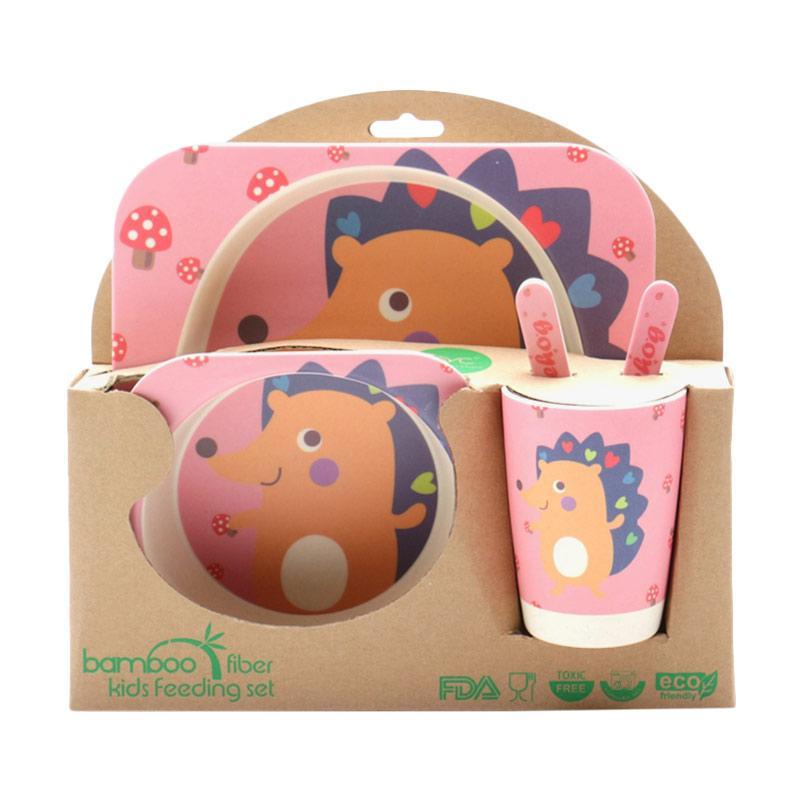 HAN AYC Bamboo Fiber Kids Set Dinnerware Peralatan Makan Anak Dari Serat Bambu Hedgehog - Multicolor