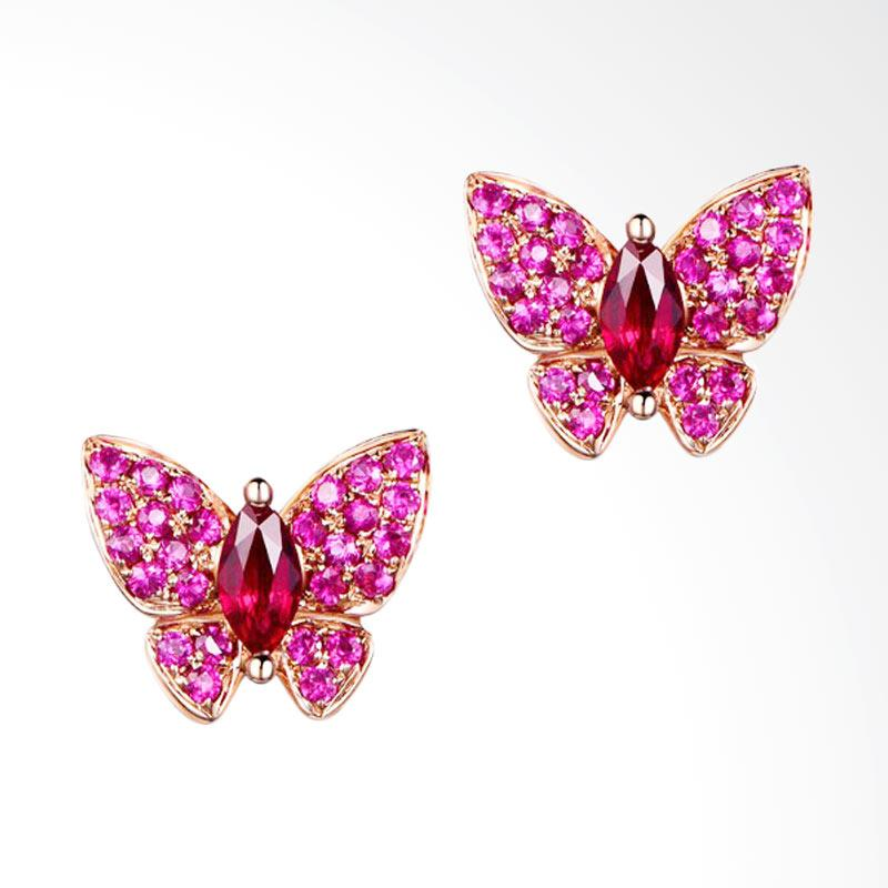 Tiaria 18K Butterfly Ruby Earring - Rose Gold