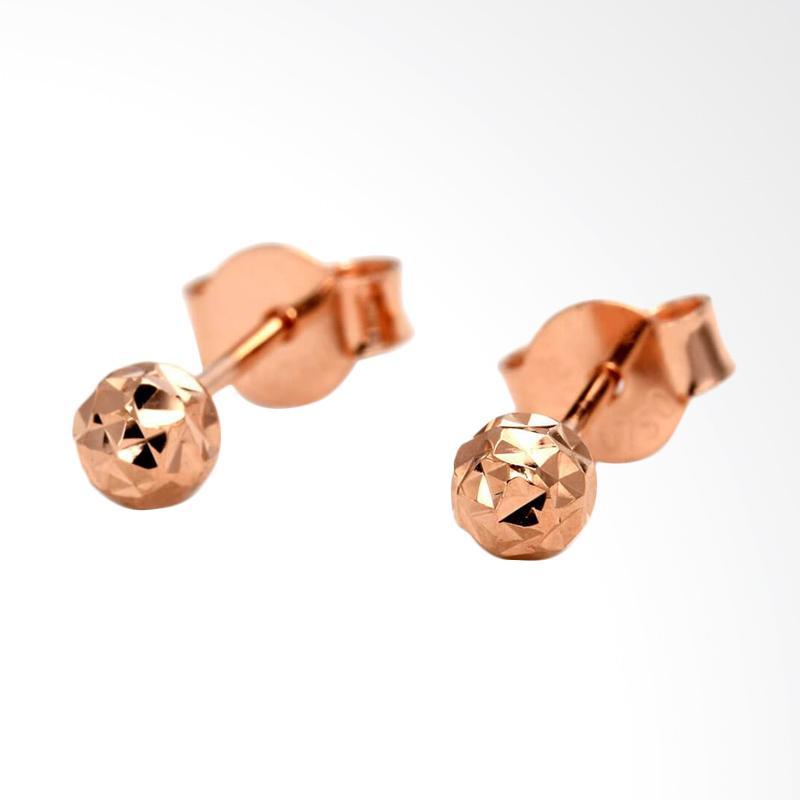Tiaria Round Sparkle Rose Gold Earring Perhiasan Anting Emas 18K