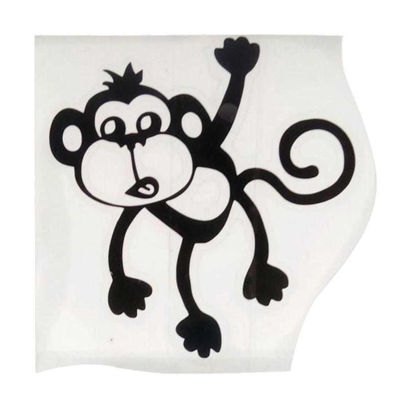 OEM Motif Monkey Monyet Hanging Dekorasi Tombol Lampu Saklar Wall Sticker - Hitam