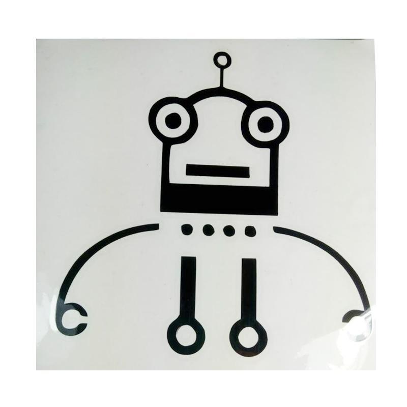 OEM Motif Robot Unik Funny Dekorasi Tombol Lampu Saklar Wall Sticker - Hitam