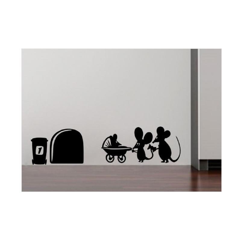 OEM Tikus Mouse Family Baby Wall Stiker Decal Closet / Hiasan Dinding / Laptop