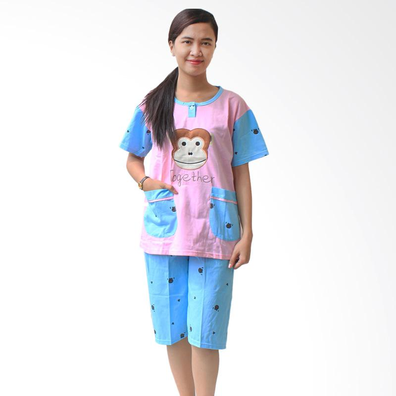 Aily Monkey 513 Setelan Baju Tidur Wanita - Pink Pastel