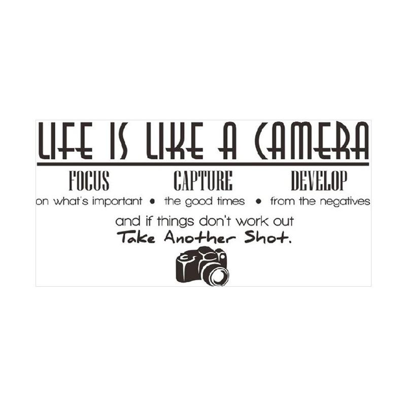 Epinidithouse Life is Like Camera Quotes Wall Sticker Dekorasi Dinding - Black