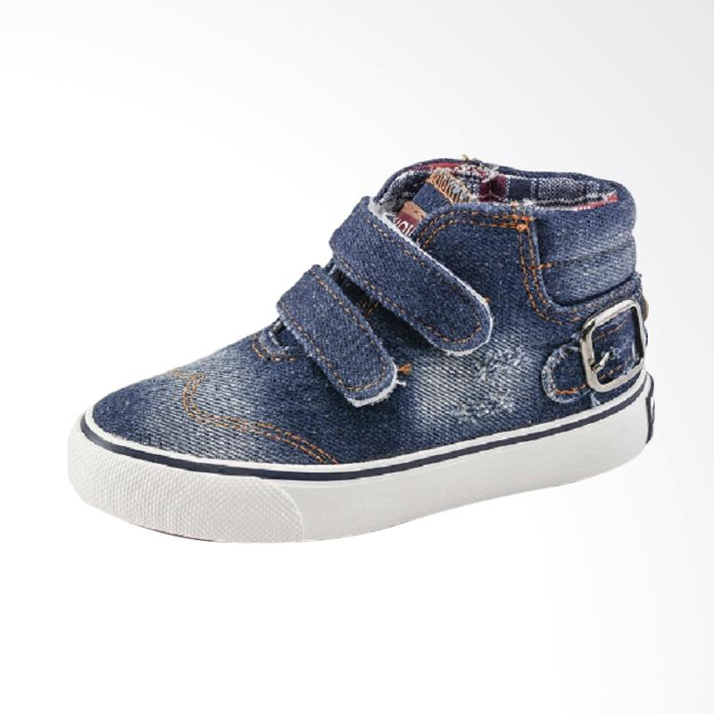 Chloebaby Shop S259 Sneakers Canvas Denim Kids Perpet Sepatu Anak Laki-laki - Navy
