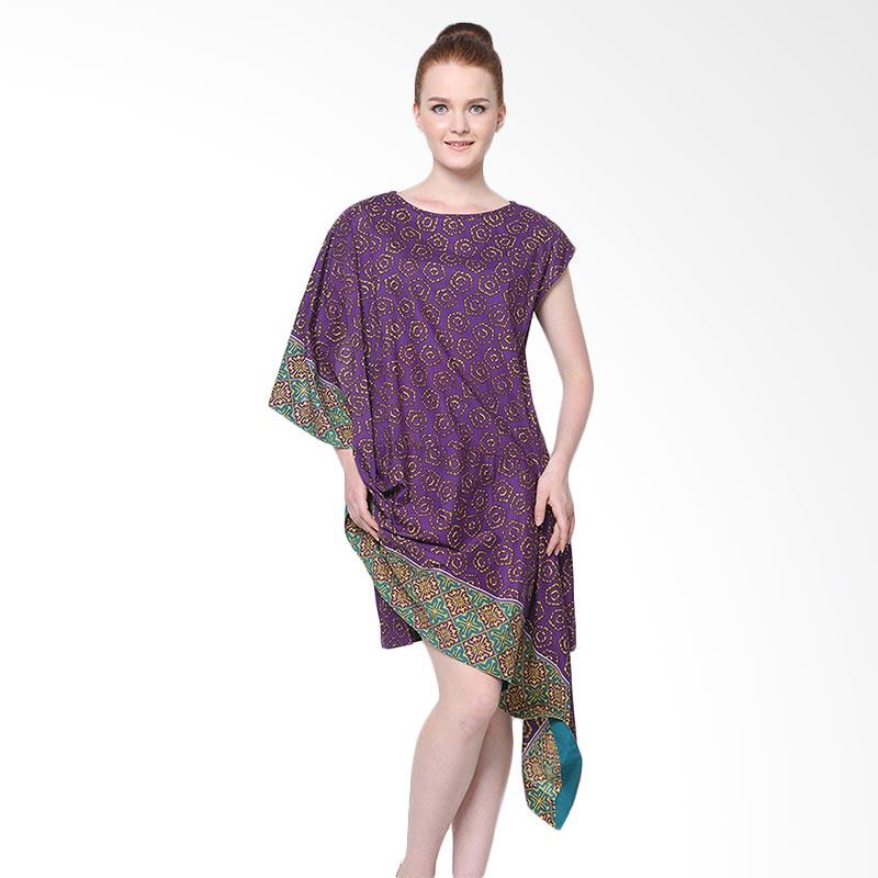 Days by Danarhadi Women Jumput Segi Warna Diagonal Dress Wanita - Violet